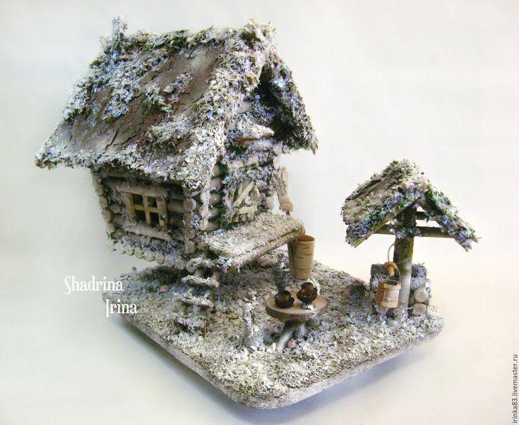 Купить Зимне-новогодняя избушка - белый, избушка, избушка на курьих ножках, зимний домик, домик