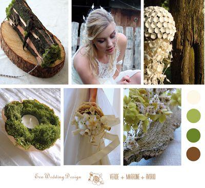 allestimenti matrimonio eco , colore verde marrone avorio