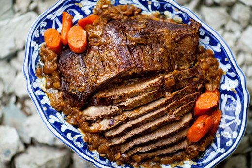 #Beef brisket pot roast, slowly cooked with onions, garlics, herbs, and carrots.