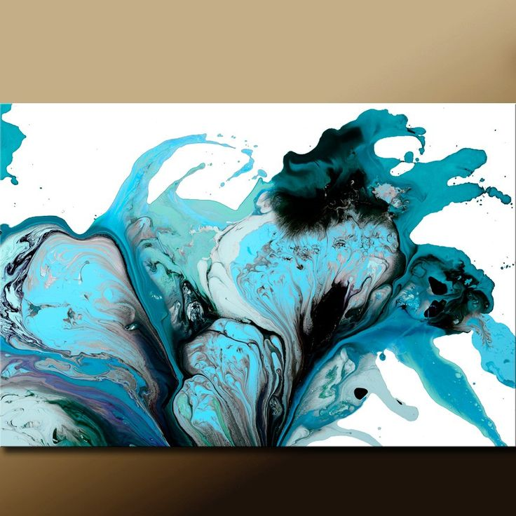 Abstract Art Print 18x24 Matted Turquoise Teal Aqua & by wostudios, $45.00