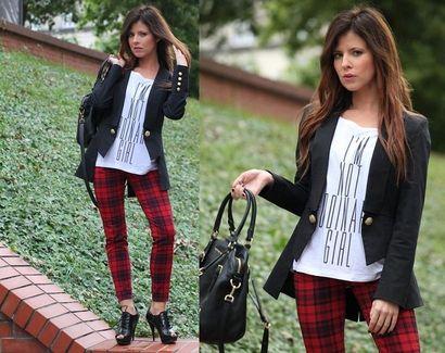 Stylizacja Fashion Roulette wpisuje się we wszystkie najważniejsze trendy tej jesieni. Czerwono-czarne spodnie w kratę, połączone z czarnym t-shirtem, czarną marynarką i skórzanymi butami i torebką daje ciekawy, rockowy efekt. Nam się bardzo podoba :)