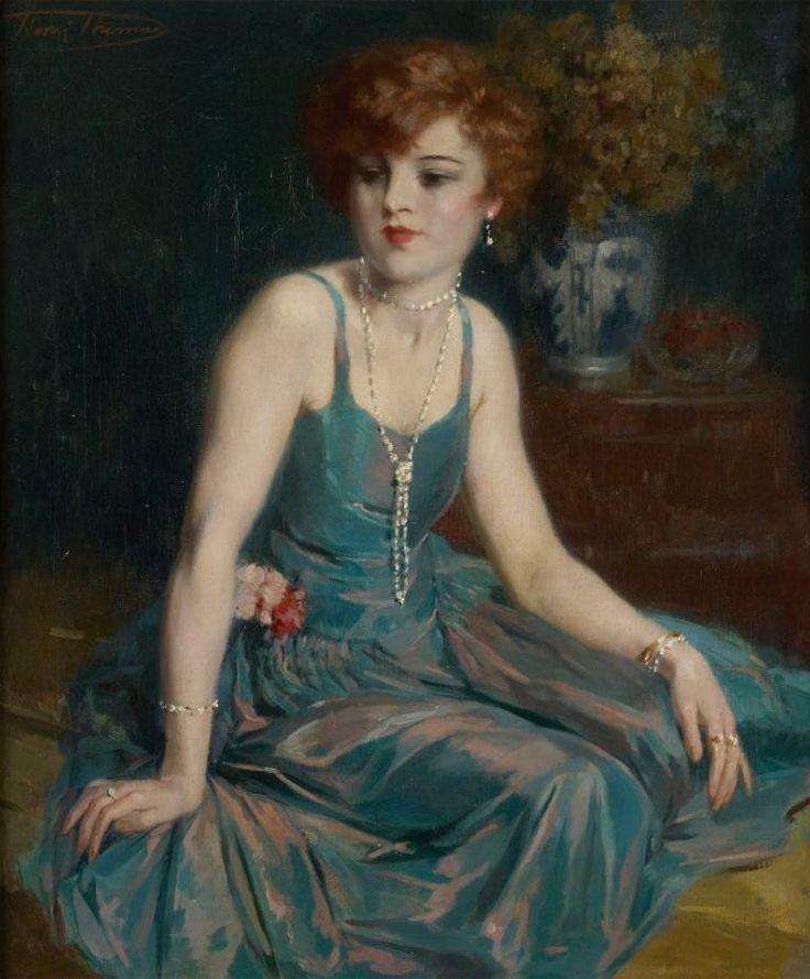 Henri Thomas (1878-1972) - Élégante au collier de perles