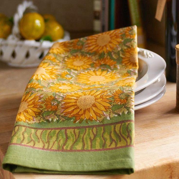 Sunflower Yellow Green Tea Towel
