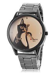 orologio modello del gatto acciaio quadrante quarzo della fascia delle donne (colori assortiti)