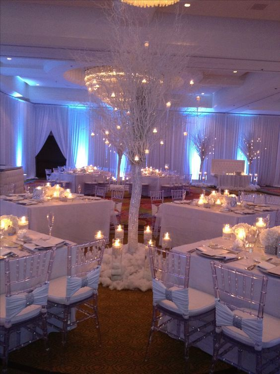 Winter wonderland. 12' tall winter trees served as the centerpiece for 4 tables. The tables then had low arrangements