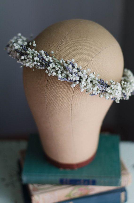 Babys Breath with Lavender Flower Crown / Hair by WoodlandSecrets