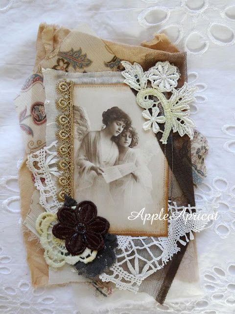 fabric collage card by AppleApricot: Simply Neutrals Tuesday (almost Wednesday) #6 :)