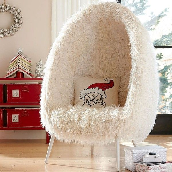 PB Teen Furlicious Egg Chair (1,110 CAD) ❤ liked on Polyvore featuring home, furniture, chairs, accent chairs, white modern chair, pbteen furniture, white modern furniture, faux fur chair and modern chair
