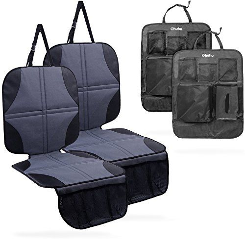 Ohuhu 4 Packs Baby Child Car Seat Protectors and Kick Mat Car Back Seat Cover - 2 Sets Auto Seat Cover for Carseats and Kids Kick Mats with Backseat Organizer Pockets Storage - Perfect for Dog Mats.