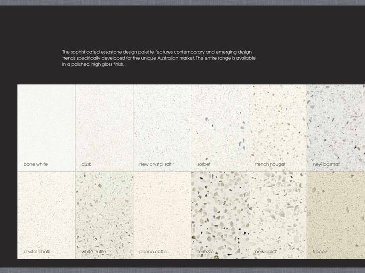 Essastone benchtop potential New Cairo or  	white truffle. NEW CAIRO recommended by claire