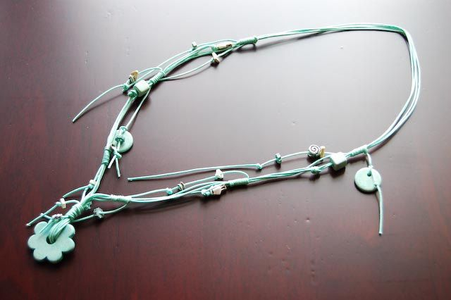 Handmade turquoise necklace made of wiire, with variety of metal and ceramic beads. by Kosmisis on Etsy