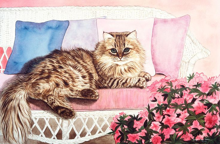 Juliet on Wicker Couch by Jackie Vaux Art Paper, Canvas or Stretched Canvas