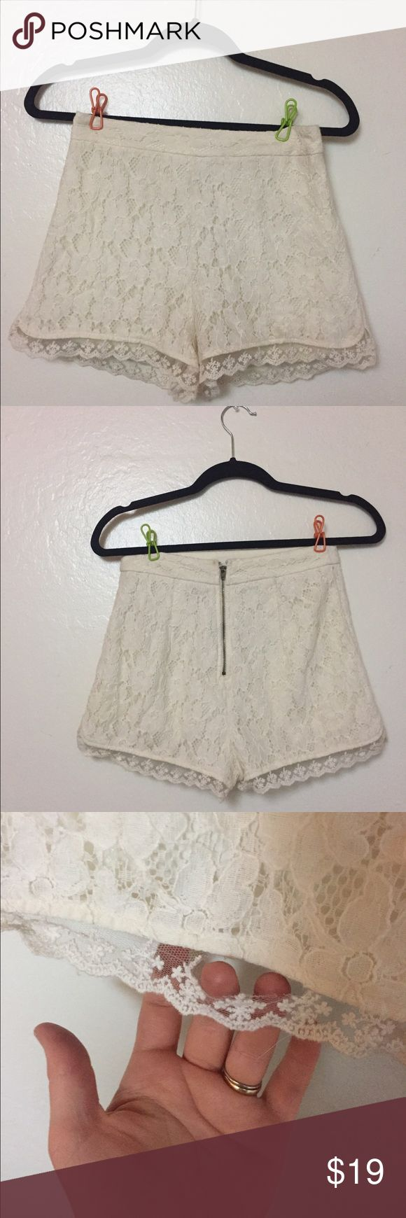 High waisted shorts Sooooooo cute. Def need some love. A section needs to be sewed in the back to reattach the lace & the latch is bent above the zipper. If you can sew I would definitely say they are worth the purchase and have a lot of life lest in them. Kimchi Blue Shorts