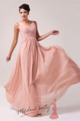 Růžové plesové šaty s výstřihem do V.