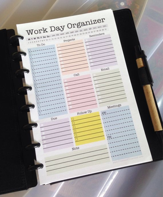 This mini (8.5 x 5.5) Work Day Organizer printable, is designed to help you plan out your daily activities and stay organized on the job!