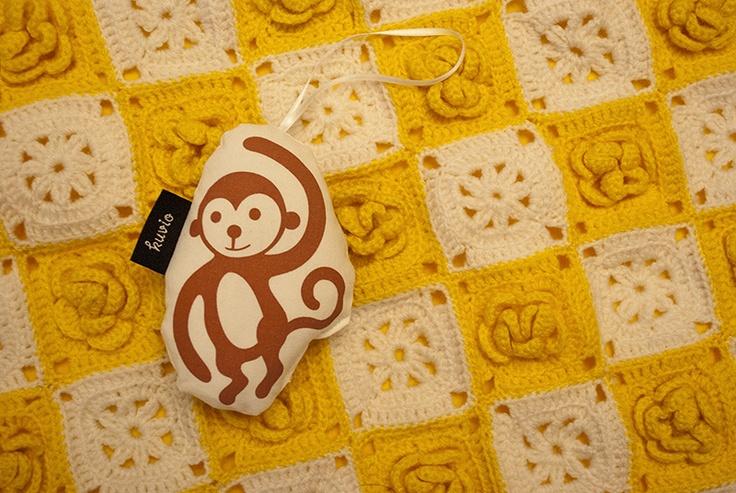 "Hand printed toy ""Maki"". 100% organic cotton. http://www.kuviokioski.com"