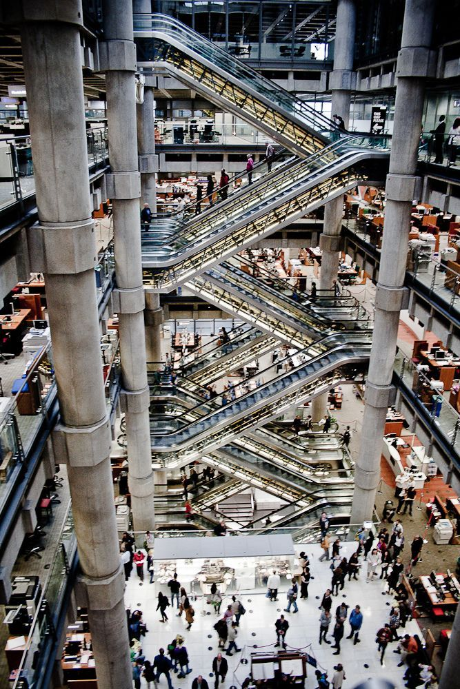 Lloyd's Building  (Richard Rogers, 1978-1986). Headquarters of the Lloyd's of London, United Kingdom.