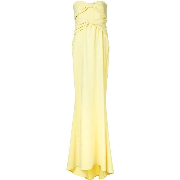 Boutique Moschino flared evening dress ($931) ❤ liked on Polyvore featuring dresses, yellow, flared dresses, yellow cocktail dress, flared hem dress, beige dress and flare cocktail dress