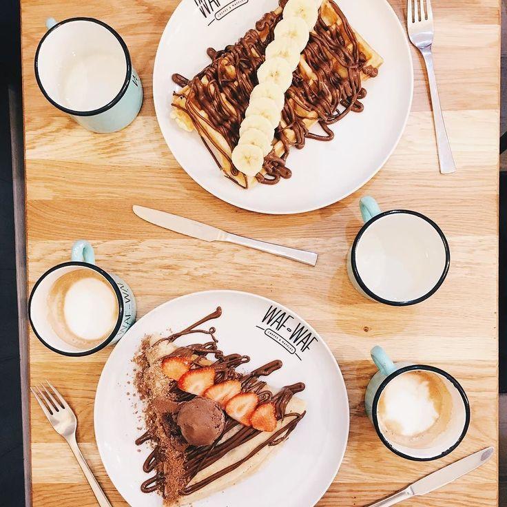 B-day breakfast @wafwafcz - - - - - - - - - - #birthdaygirl #birthday bday #breakfast #waffles #foodporn #foodie #food #foodstagram #prague #praga #praha #holesovice #letna #wafwaf #crepes #nutella #sweet #foodgasm #travel #traveller