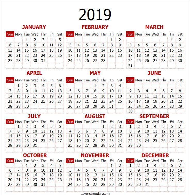 2019 Calendar Year 2019 Calendar Pinterest 2019 calendar
