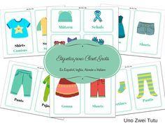 Etiquetas de ropa para closet. Imprimible gratís en español, inglés, alemán e italiano para fomentar la independencia de los niños. Inspirados en la filosofía Montessori.