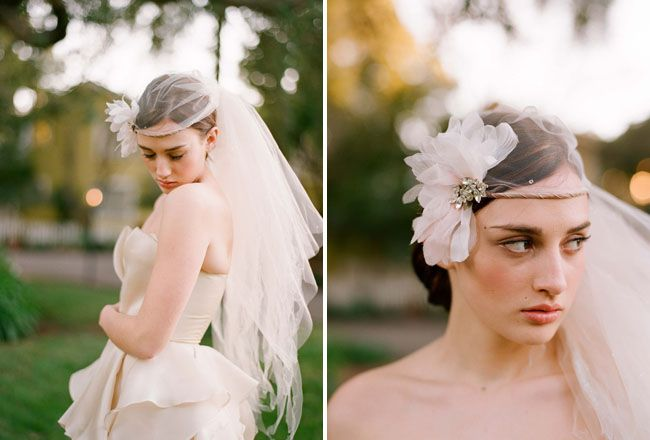 tulle and flower hair piece