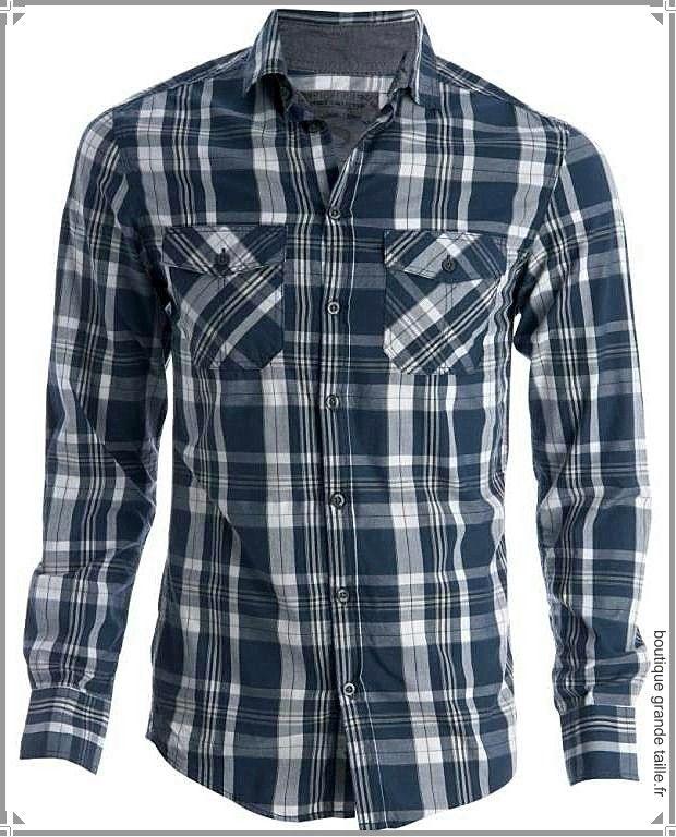 chemise homme casual carreaux bleu marine grandes tailles 2xl 8xl petit prix style et. Black Bedroom Furniture Sets. Home Design Ideas