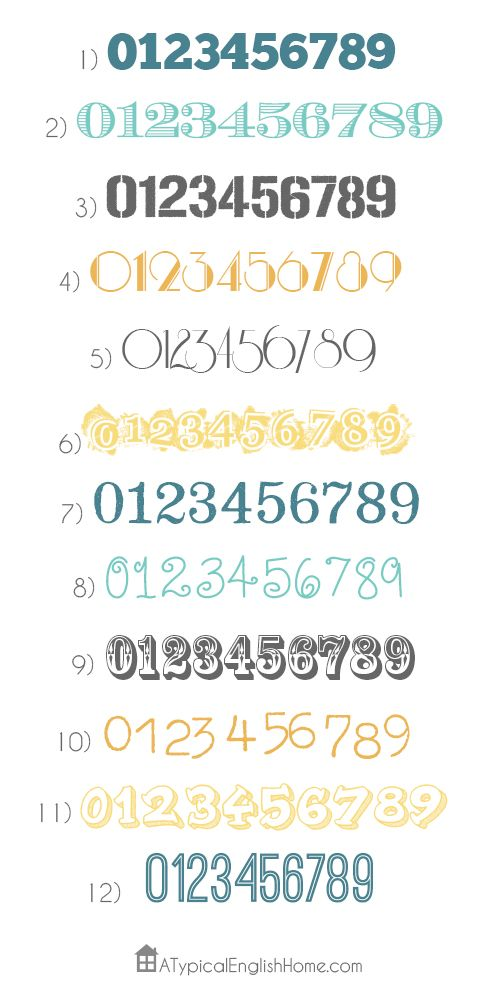 A Typical English Home: The Twelve Best Number Fonts  ~~ {12 Free fonts w/ links}