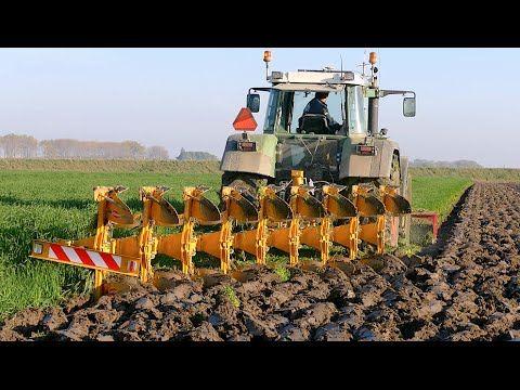 Ploughing using a 9 furrow Rumptstad ECO Plough | FENDT 824 Turbomatik |...