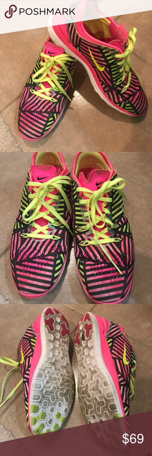 Pretty Nike Free sneakers in pink and neon yellow Pretty Nike Free sneakers in pink and neon yellow. Size 8, true to size. Only wore 3 times. I love the vibrant color but my hubby doesn't 😆. Selling since I have more than 10 pairs of Nikes. No Trades or original box. Nike Shoes Sneakers