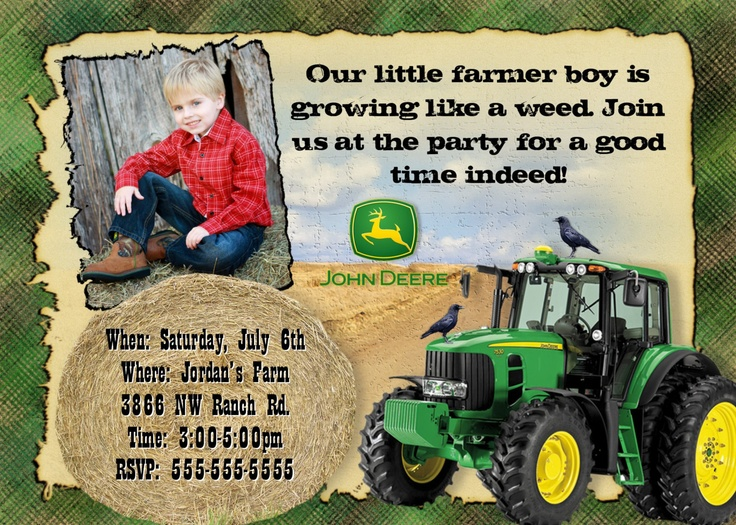 JOHN DEERE Invitation Photo Boys Birthday Party Theme Tractor Farm Farming Farmer Invite ...