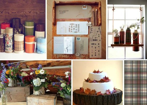 Nothing beats the charm of retro thermoses to bring back old memories of family camping trips. | See more lodge #wedding details here: http://www.mywedding.com/articles/lodge-wedding-details/
