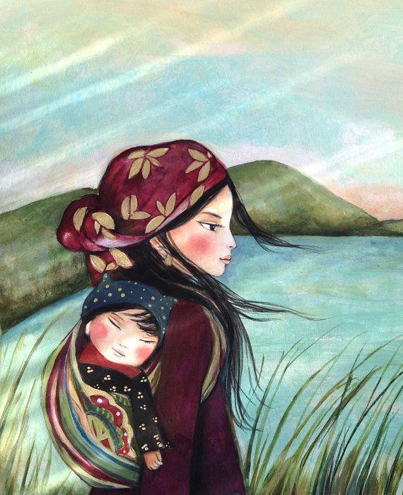 Madre y el niño en la mañana impresión de arte por claudiatremblay                                                                                                                                                                                 Más