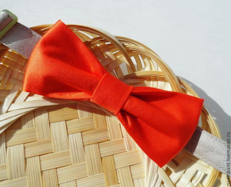 """Галстук бабочка """"Огонь"""" натуральный шелк - оранжевый,однотонный,яркий галстук"""