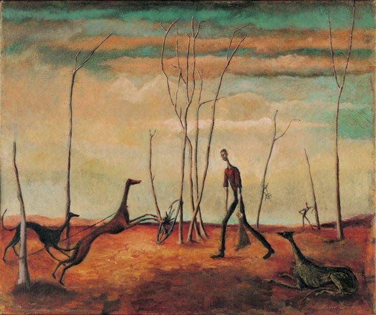 Russell Drysdale, man feeding his dogs 1941 - a pretty important painting in Australian art history