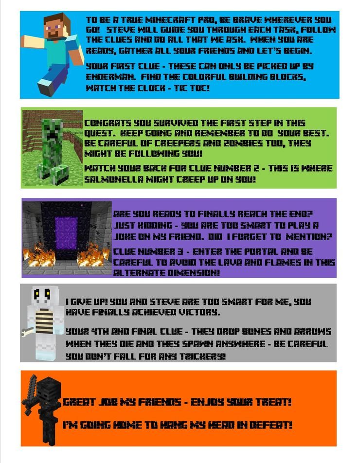 Scavenger Hunt - Minecraft fonts, clues and language.