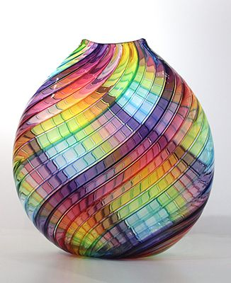 """Lucy Bergamini, """"Rainbow Large Flat Vase,""""   blown glass, http://www.morganglassgallery.com/imagepages/bergamini_rainbow_large_flat_vase.htm"""