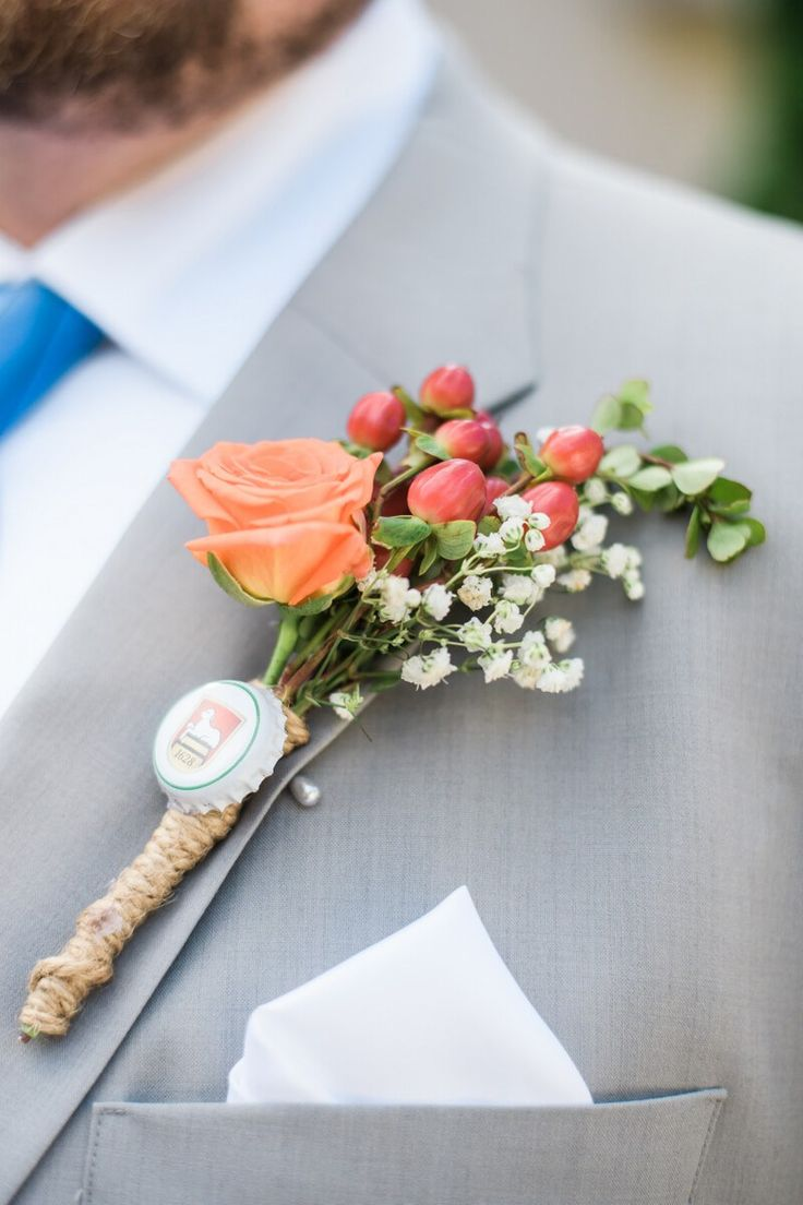 Orange Fall Groom Boutonniere - from Oktoburgerfest themed Wedding