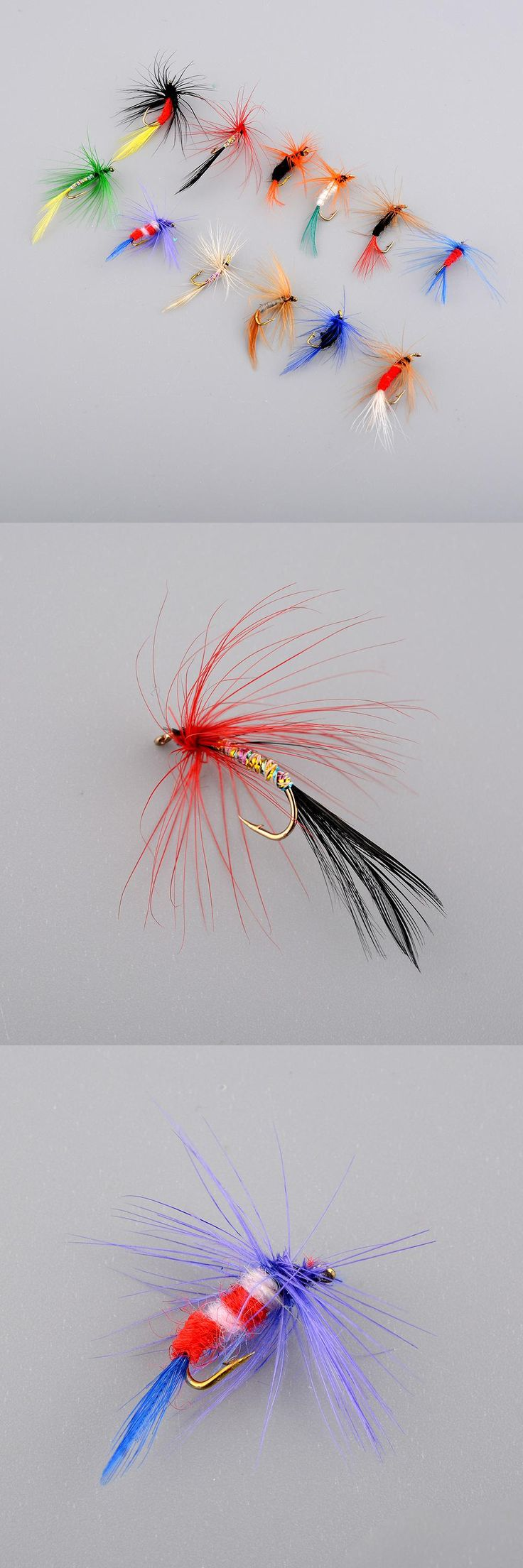 [Visit to Buy] 12Pcs Lures Fly Fishing Hooks Butterfly Insects Style Salmon Flies Trout Single Dry Fly Fishing Lure Fishing Tackle Promotion #Advertisement