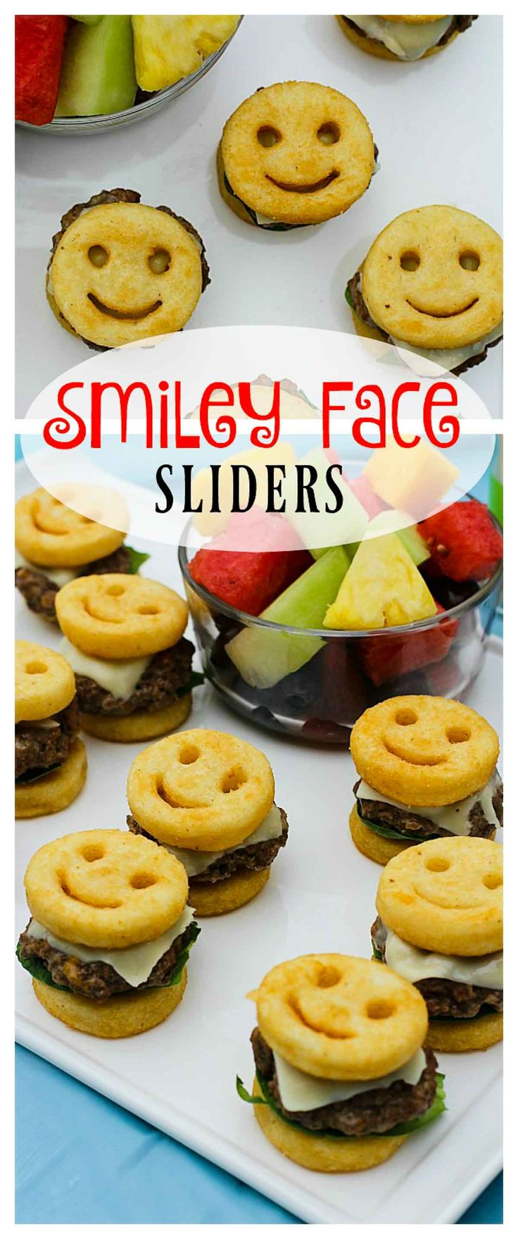 Have you ever seen anything cuter than these Smiley Face Sliders?! Perfect for appetizers or single bite entrees! Create shareable summer moments with McCain French fries! #JoyintheSummer #ad