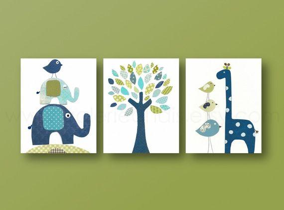 Lot de 3 illustrations enfant decoration murale, girafe, elephant : Décoration pour enfants par galerie-anais
