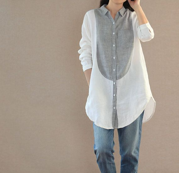 linen shirt Leisure lapel Long shirt linen blouse single by MaLieb, $85.00