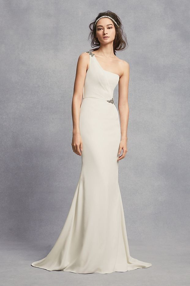 One Shoulder Sheath Wedding Dress With Crystals David S Bridal Davids Bridal Wedding Dresses Perfect Wedding Dress Wedding Dresses Lace