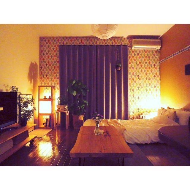 mirさんの、部屋全体,無印良品,照明,IKEA,ワンルーム,DIY,一人暮らし,賃貸,ウンベラータ,コンテスト参加,花のある暮らし,NO GREEN NO LIFE,グリーンのある暮らし,のお部屋写真