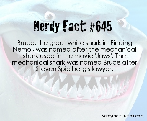 Nerdy Fact 645 *sigh* I have known this since Finding Nemo came out. Why? Because I have no life...