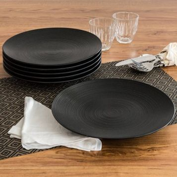 Simple and Unique Matte Swirl Dinner Plates, Black, Set of 6 by Better Homes & Gardens #affiliate
