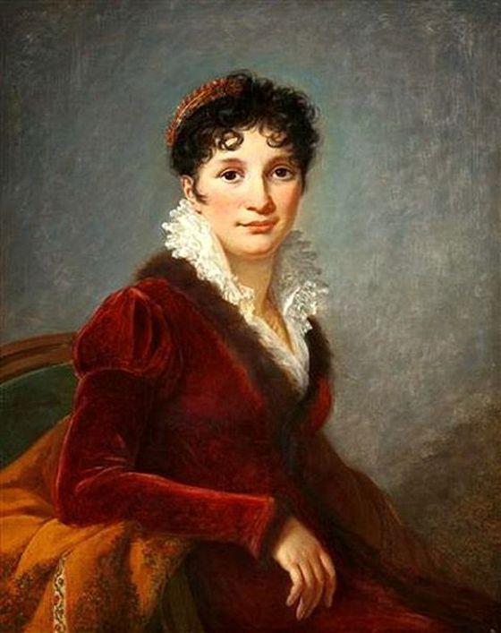 1815 LeBraun portrait with a red velvet Pelisse.