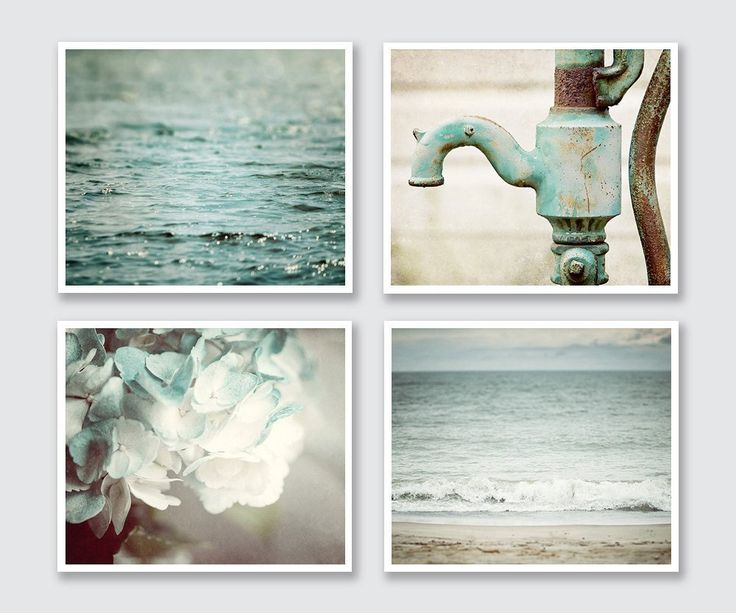 """Teal Bathroom Decor Set of 4 Photographs - Beach and Rustic - 20% Discount - Art for Bath in Turquoise, Mint, Aqua. 4 unframed horizontal aqua colored photographs. • Borderless fine art photographs with a soft luster finish. • Available in sizes 8x10 through 30x40 (Click """"Select Options"""" menu to choose). • Watermark does not appear on final photograph."""