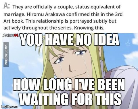 What my friend sent me regarding Roy Mustang and Riza Hawkeye from FMA.... Only Fullmetal Alchemist fans will understand