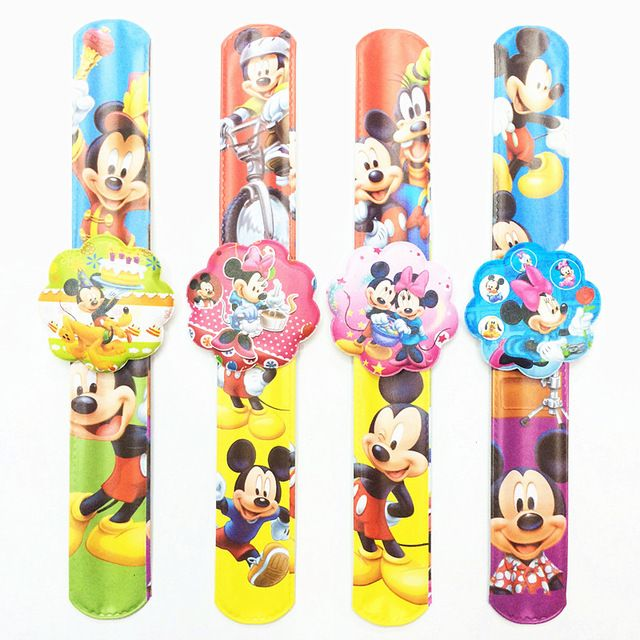 12PCS Cartoon Mickey Slap Bracelets Kids birthday party supply gift for girl boy souvenirs  baby shower favors